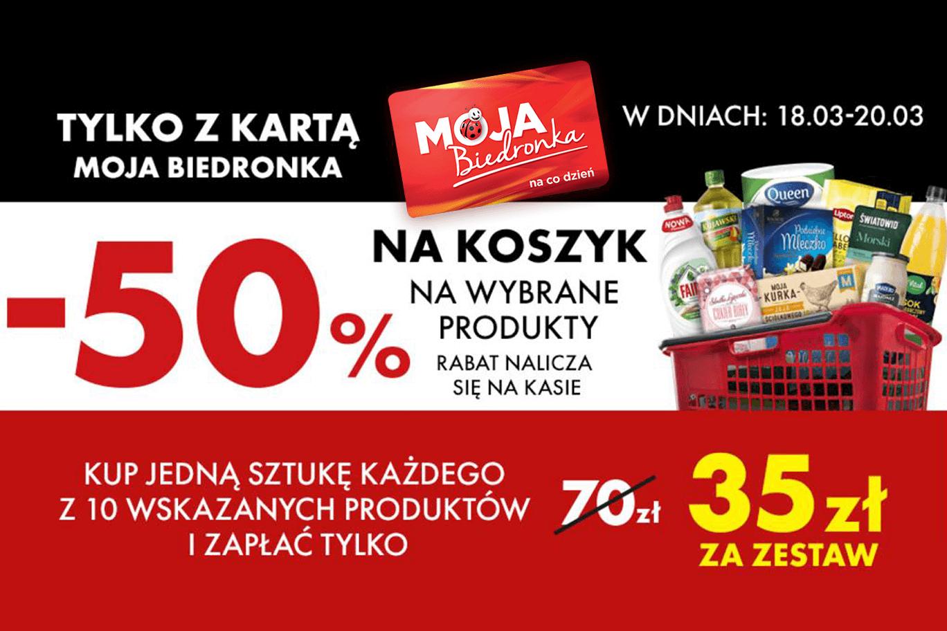 Koszyk zakupów za pół ceny w Biedronce